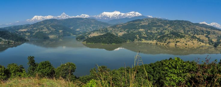 Panoramic view of Lake Begnas and Mt. Annapurna range, Pokhara, Nepal.