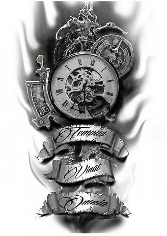 эскизы татуировок часы