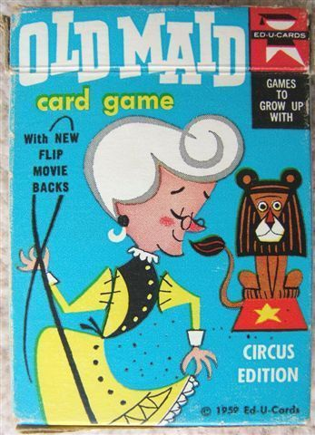 $81 Vintage-OLD-MAID-CARD-GAME-Circus-Edition-1959-Ed-U-Cards-with-FLIP-MOVIE-BACKS