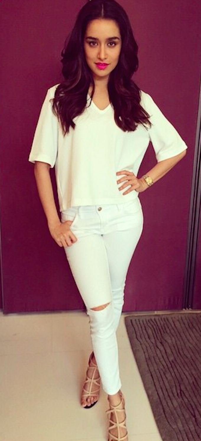 Shraddha Kapoor  went all white for the ABCD 2 promotions in Delhi today
