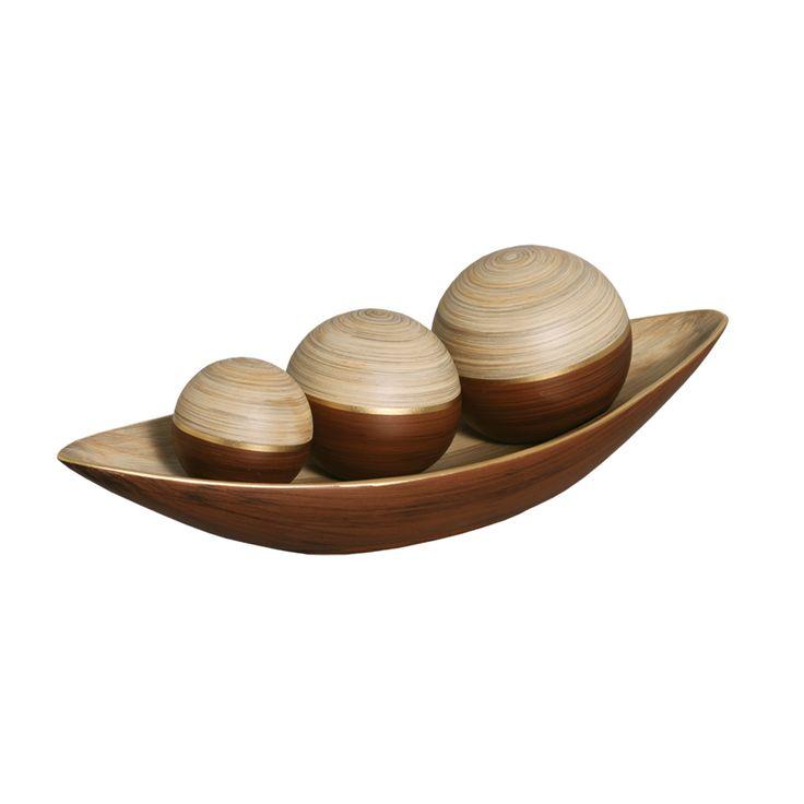 Jogo esferas mais canoa de cer mica para a decora o da for Ceramica decorativa pared