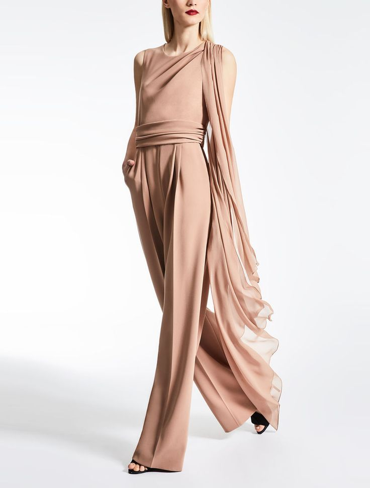 Max Mara RADICA beige: Cady and georgette jumpsuit.