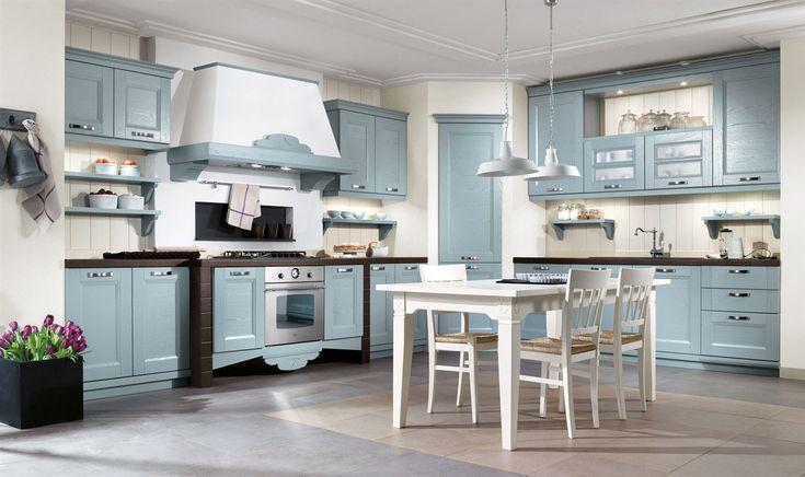 Cucina classica in muratura, decapè azzurro. #cucina #mobili #classico #country | Cucine classiche & Country | Pinterest | Kitchen, Kitchen design and Blue kit…
