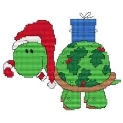 Christmas turtle cross-stitch