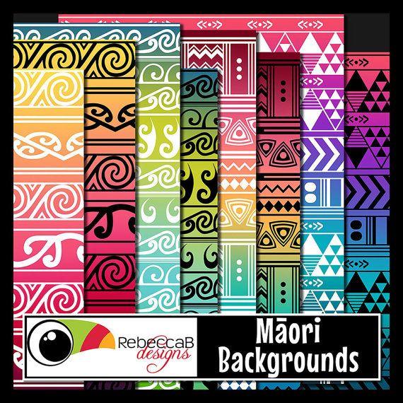 Tribal Clipart Digital Paper Maori Patterns by RebeccaBDesignShop