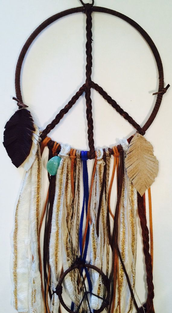 Leather Peace Sign with Mini Dream Catcher // Peace // Leather // Hand Braided / Mini Peace Sign / Leather Feathers / Turquoise Beads