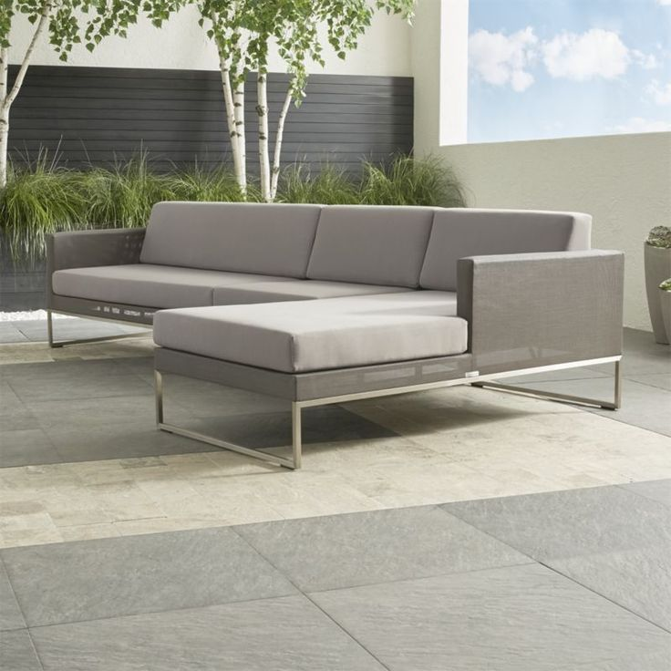 Shop Dune 3-Piece Sectional Sofa with Cushions.   The outdoor sectional's right arm chaise, armless chair and left arm loveseat include comfortable cushions covered in weather-resistant Sunbrella acrylic.