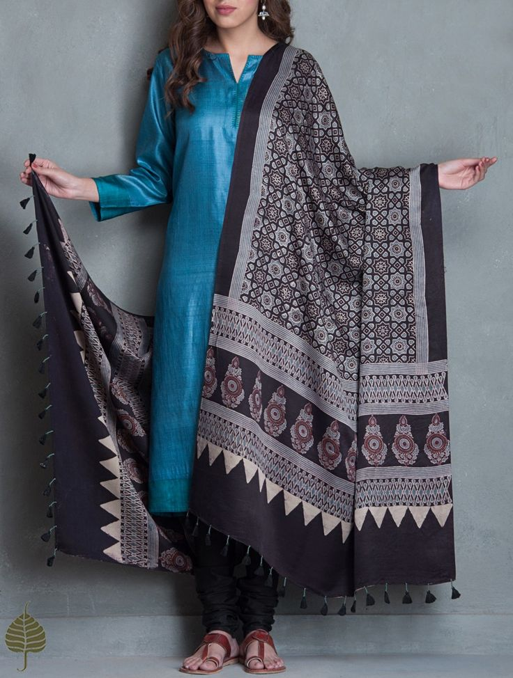 Buy Black Blue Maroon Ajrakh Printed Gajji Silk Dupatta by Jaypore Accessories Dupattas Musings Online at Jaypore.com
