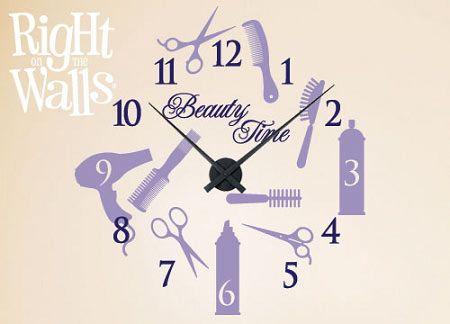 Salon Beauty Clock Wall Decals, Vinyl Art Stickers