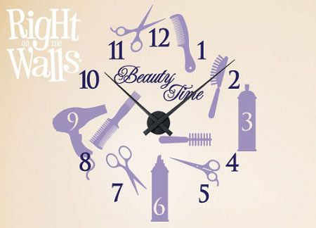 Salon Beauty Clock Wall Decals, Vinyl Art Stickers