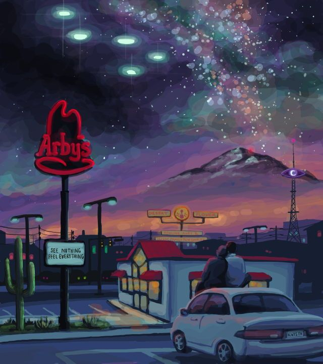 Welcome to Night Vale fanart | We understand the lights above the Arby's. We undestand so much.