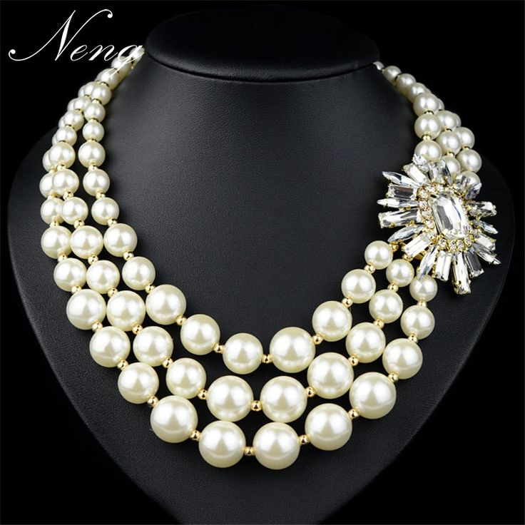 Collares Za Women 2017 Exaggerated Pearl Statement Necklace Crystal Flower Maxi Colar Choker Pendants Collier Femme N1215
