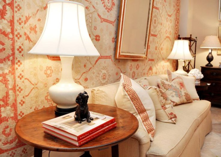 Coral and white living room vignette as seen in washington dc shop