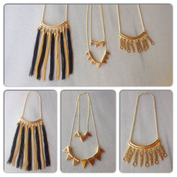 Gold necklaces with geometry shapes #lines #triangles #circles