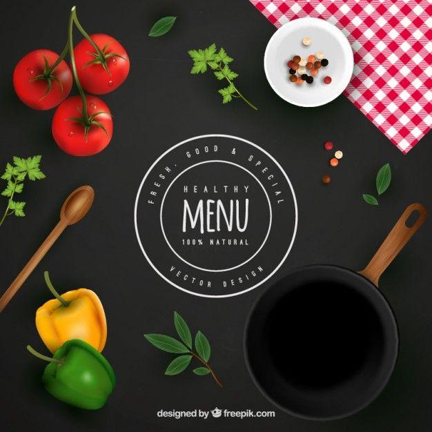 Fondo de menú saludable Vector Gratis                                                                                                                                                                                 Más