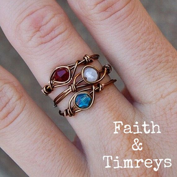 Bohemian Wire Wrapped Stack Rings Stack Rings by FaithandTimreys