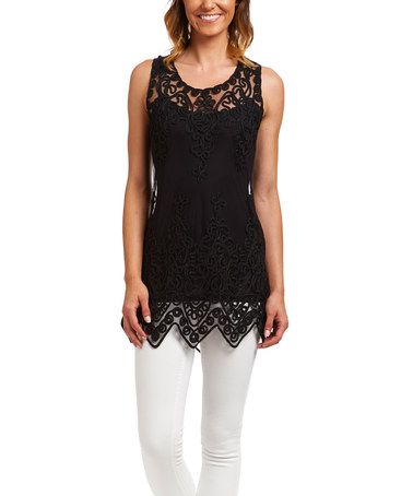 Another great find on #zulily! Black Embroidered Tank #zulilyfinds