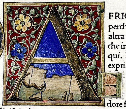 "Illuminated letter ""A"" . Douce Pliny. Florentine Venice 1476."