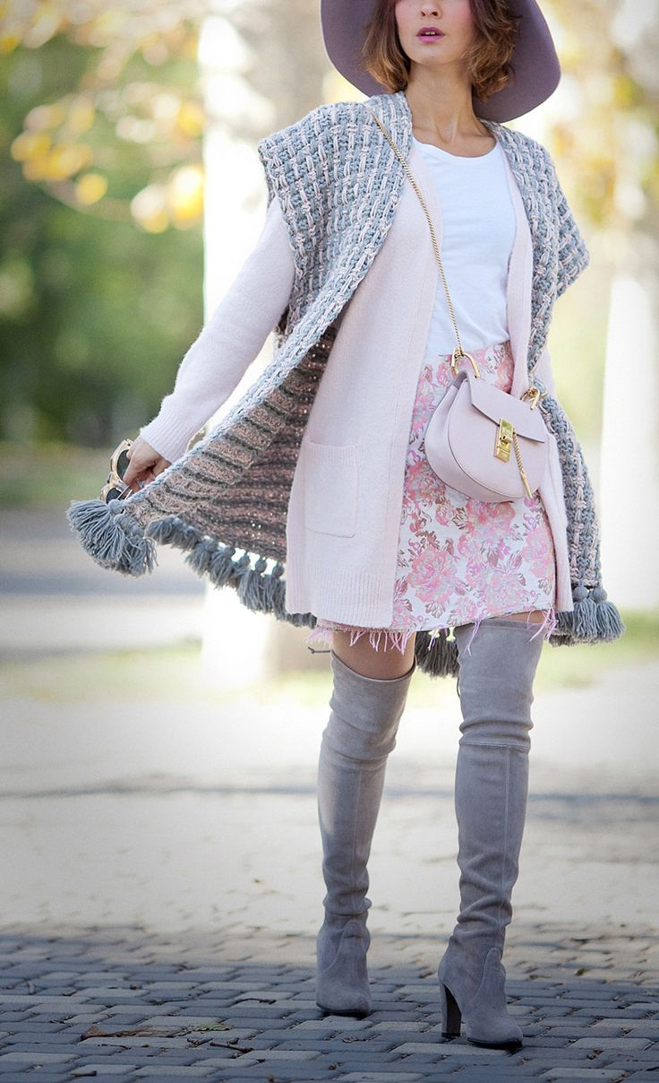 mini skirt, layering for fall outfits, over the knee boots outfit, chloe drew bag, knitted poncho outfit,