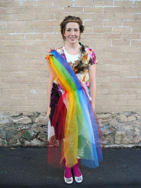 DIY Mother Nature Costume // Bright Apple Blossom // easy costume, DIY costume, rainbow, acorn crown, crepe paper butterflies, dress up, halloween