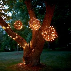 A DIY on creating hanging Grapevine balls. The lights can also be made with wire. Add twinkle lights for a beautiful look.