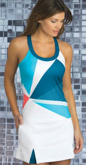 SPECIAL Bolle Ladies Tennis Outfits (Tank Top & Skorts) - Solar Wind (White & Teal)