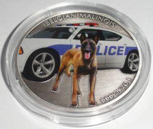 Niue 1 Unze Silber Belgian Malinois 2016 im Etui. Polizeihund *DIESEL* K9 › Silberkauf .net
