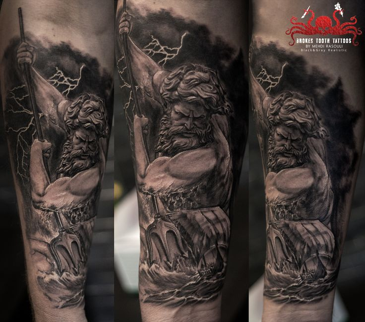 Neptun Tattoo by Mehdi Rasouli broken tooth tattoos