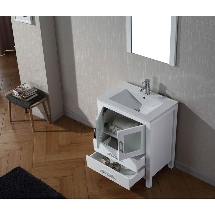 Web Photo Gallery Virtu USA Dior in W x in D Vanity in White with Ceramic Vanity Top in White with White Basin and Mirror