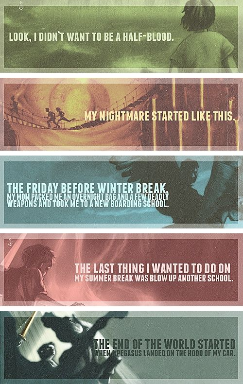 "First sentence of each book of the ""Percy Jackson and the Olympians"" series. Percy Jackson and the Lightning Thief is an epic fantasy with a mix of Greek mythology."