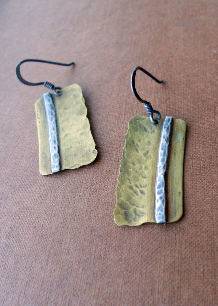 Brass and Sterling Silver Earrings: Where you draw the line. $35.00, via Etsy.