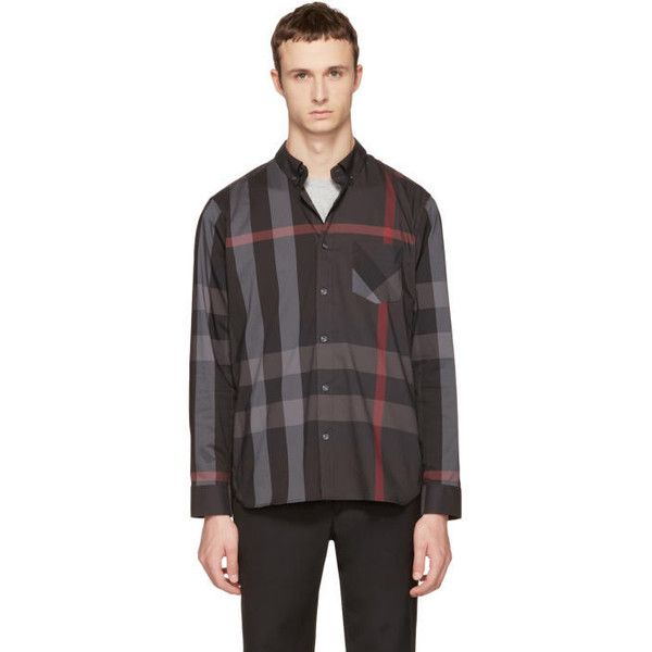 Burberry Grey Check Thornaby Shirt (€250) ❤ liked on Polyvore featuring men's fashion, men's clothing, men's shirts, men's casual shirts, grey, mens longsleeve shirts, mens extra long sleeve shirts, mens grey shirt, mens button up shirts and mens casual long sleeve button down shirts