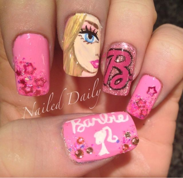 476 best cute extra girly nails images on pinterest make up barbie nails prinsesfo Images