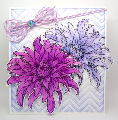 by: Annette Allen @SpectrumNoir : PL1, PL2, PL3, LV1, LV2, LV3 Embossing folder: Chevron Sheena's A Little Bit Floral EZMount Stamp Set - Dahlia Crafter's Companion: Spray and Sparkle Iridescent Crafter's Companion: Ultra Smooth Premium White card-stock
