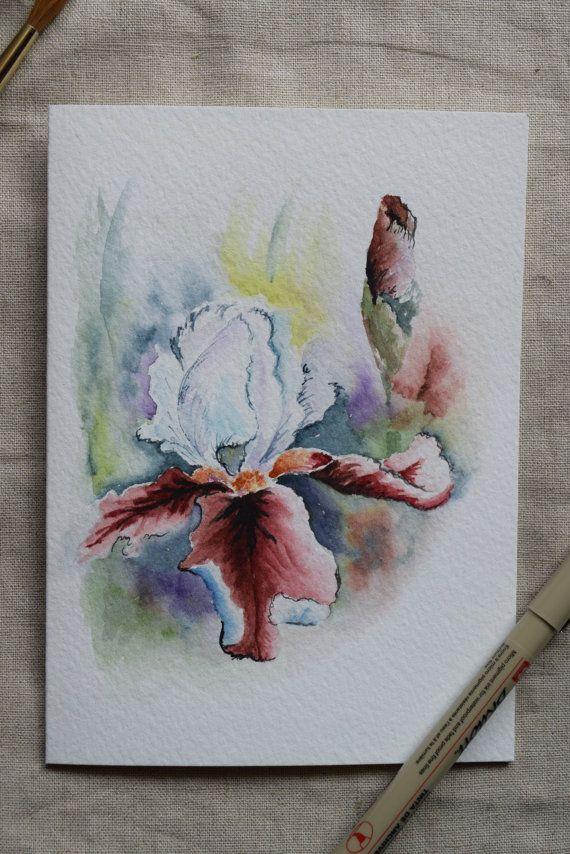 Oorspronkelijke of Print--Gelieve aan te geven wanneer u koopt als u wilt dat een origineel of afdrukken. U kunt alleen meerdere kaarten voor een afdruk (niet voor een origineel) bestellen. Dit is een handgeschilderde aquarel wenskaart op 140 pond. zure vrije, Strathmore aquarel papier. Alle kaarten zijn ontworpen en geschilderd door mij. Dimensie van de kaart is 5 x 6⅞. Bijpassende envelop opgenomen. Origineel en afdrukken zijn beide op strathmore aquarel papier.  Deze kaart kan ook…
