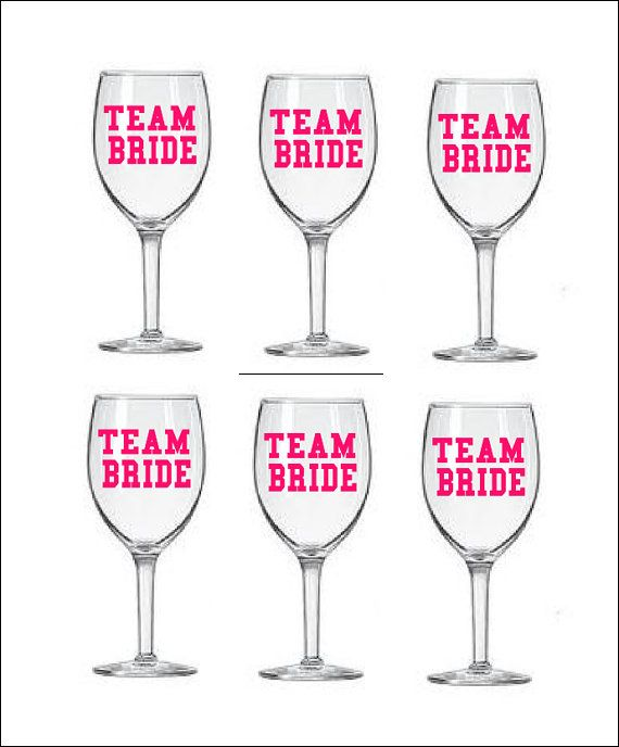 Cute! Personalized Wine Glass Decals Set of 6 Bridal Bachelorette Party