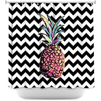 Alexandra Howell Designs Mildew and Wrinkle Resistant Shower Curtains Bathroom - Party Pineapple Chevron 66X72