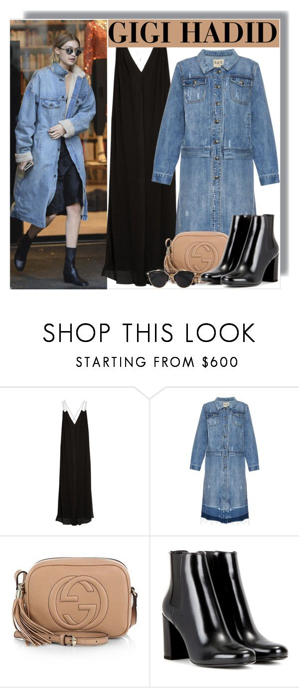 """""""Gigi Hadid at Sonia Rykel's Shoowroom in Paris"""" by anne-mclayne ❤ liked on Polyvore featuring Rosetta Getty, Sea, New York, Gucci, Yves Saint Laurent, Christian Dior, GetTheLook, StreetStyle, CelebrityStyle, modeloffduty and gigihadid"""