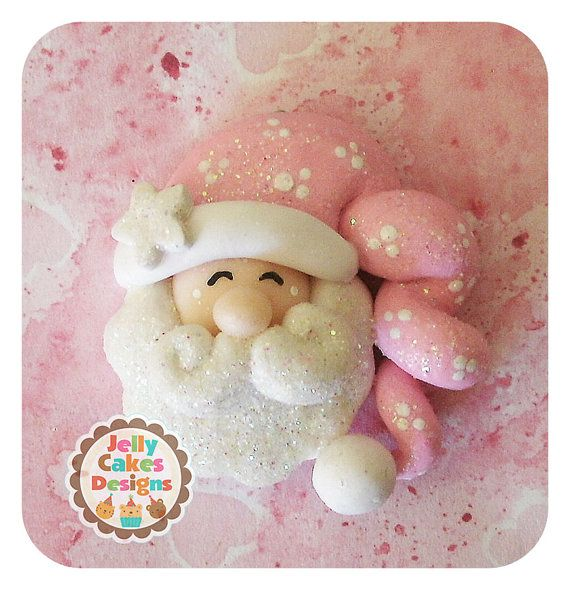 santas made of clay jewelry | Sleepy Santa pendant/hair bow by jellycakesdesigns on Etsy
