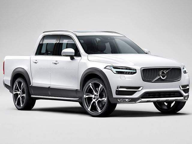 volvo pickup truck spied on the road