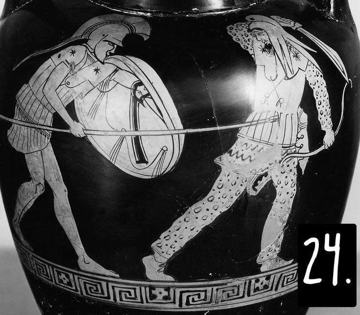I soldati persiani diventano una moda nell'iconografia del quinto secolo, sia per motivi politici sia perché i loro costumi e le loro armi sono così esotici e variati. Qui, un oplita greco (mancano gli schinieri) trafigge un guerriero persiano, che ha dovuto lasciar perdere il tipico arco ricurvo in favore di una scimitarra. Dato che il greco si legge da sinistra a destra, nelle immagini i personaggi dominanti sono quasi sempre a sinistra (succede il contrario nell'iconografia etrusca).