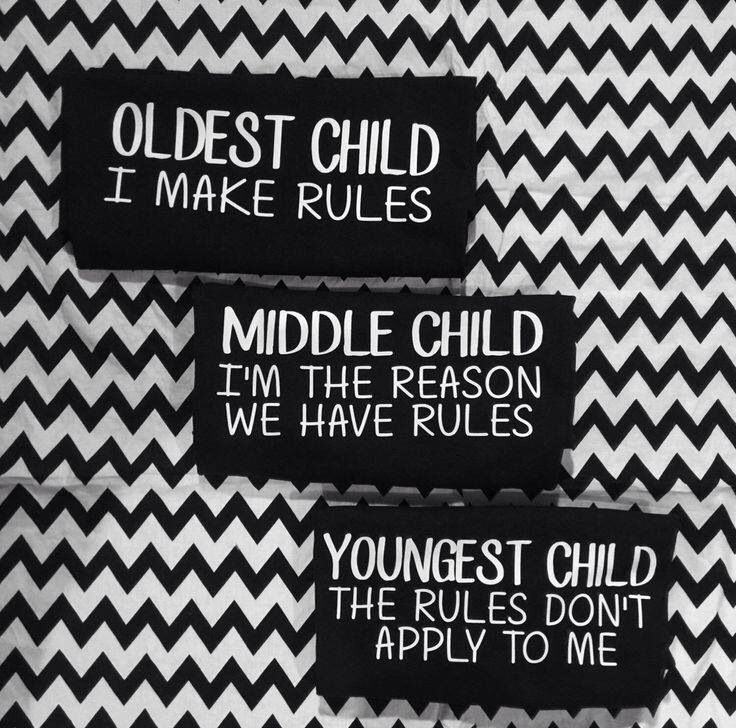 Oldest child Middle child youngest child