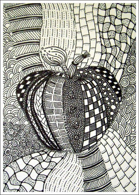Line Art Patterns : How to start a zentangle apple flickr