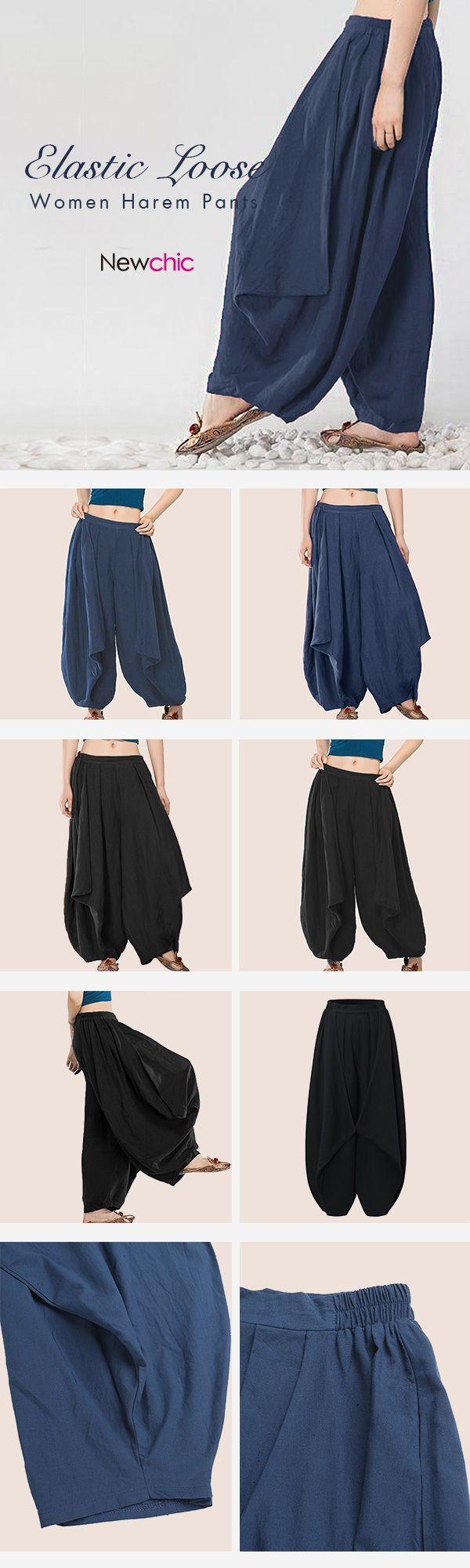 Casual Elastic Waist Loose Harem Pants For Women #ForWomens