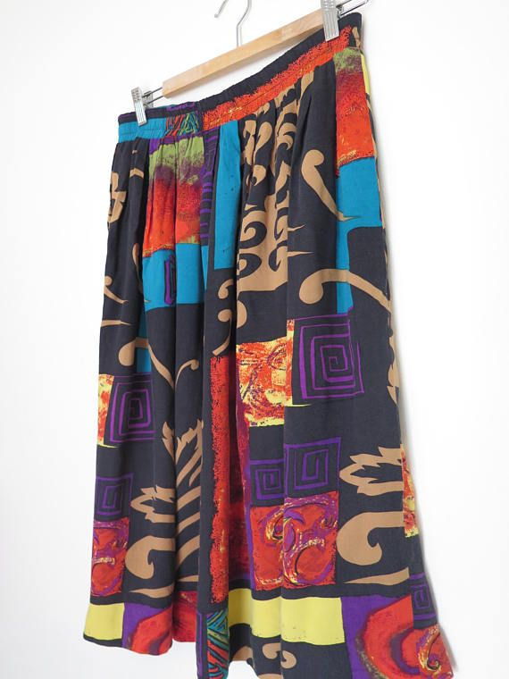Jupe multicolore style patchork vintage éric ryan sport skirt made canada