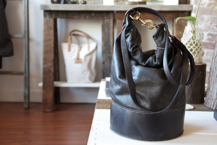HJN Leather Craft Co. black bag available at TROUT & CO. in Vancouver, BC. #leather #handcrafted #bags #accessories #blackleather #hand-dyed