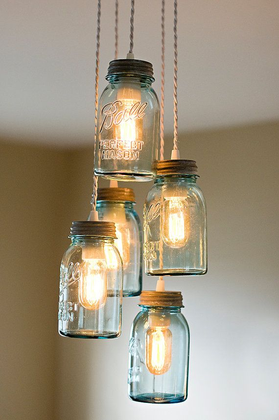 Mason jar cluster chandelier farm house lighting with 5