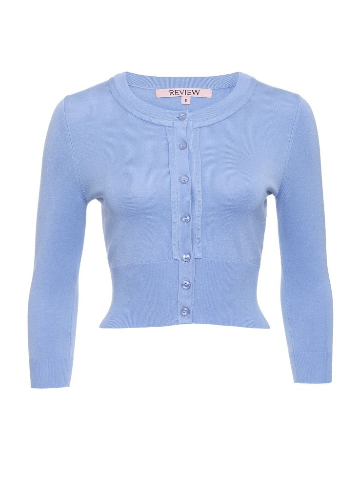 Chessie 3/4 Sleeve Cardi in Chambray