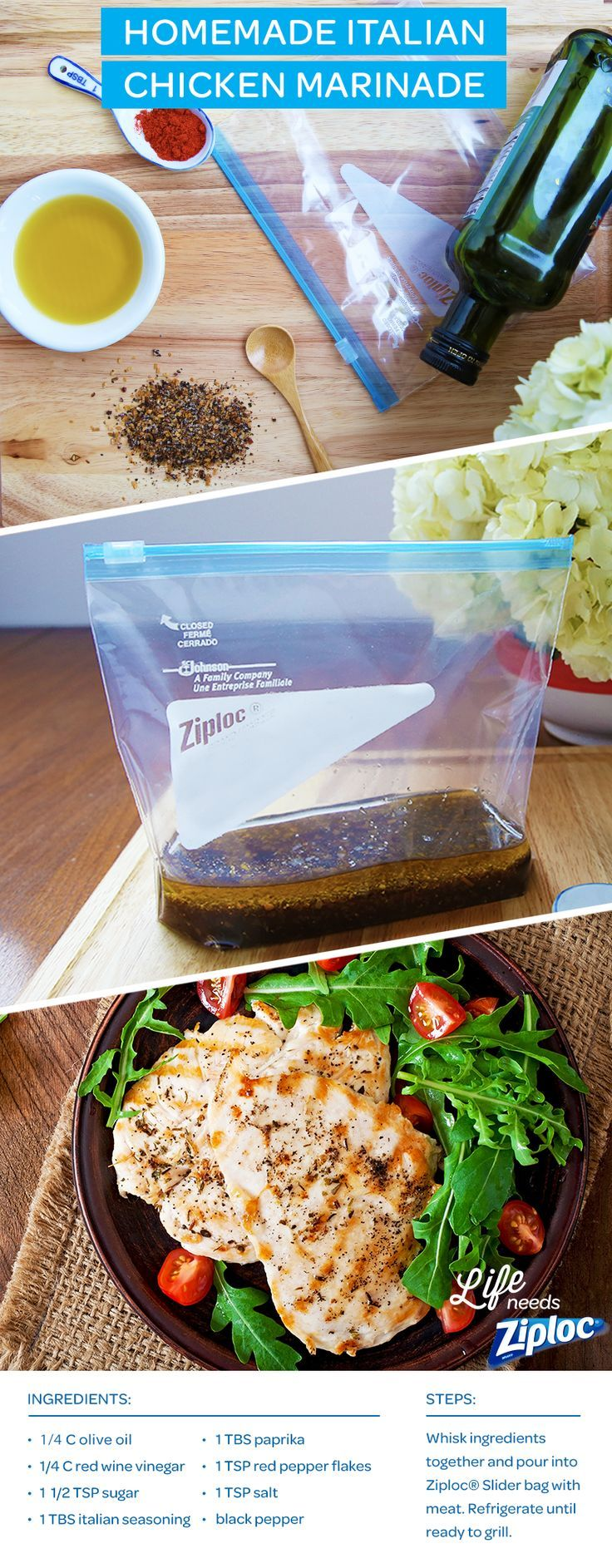 This homemade italian chicken marinade is a real money-saver (make it in bulk and store it in the fridge for all your springtime dinners). Just add all of the ingredients to a Ziploc® Slider bag for easy marinating.