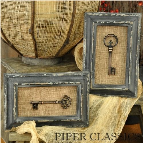 INSPIRATION: shadow boxes with keys and chippy paint frames and burlap!!